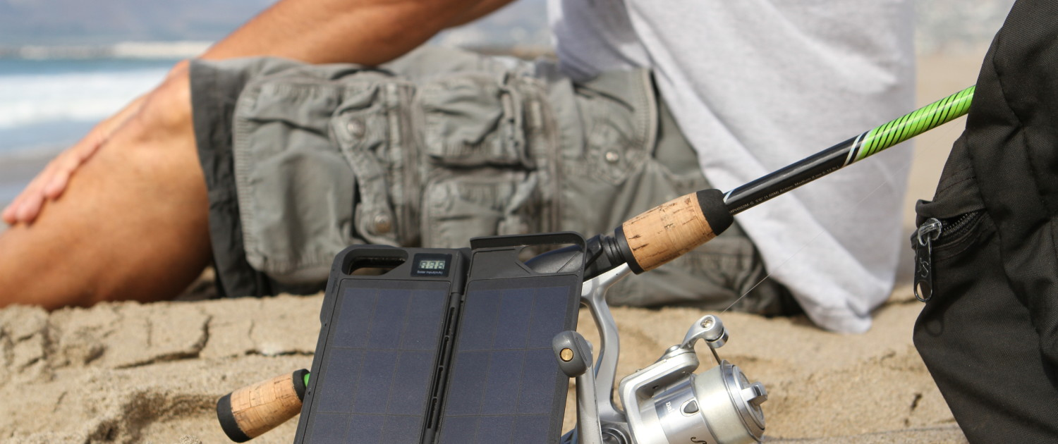 ipower up iPhone Solar charger while fishing in California