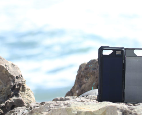 ipower up iPhone Fusion Solar charger at the beach