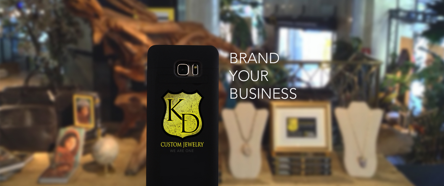 ipower up iPhone charging case with KD Custom Jewelry branding